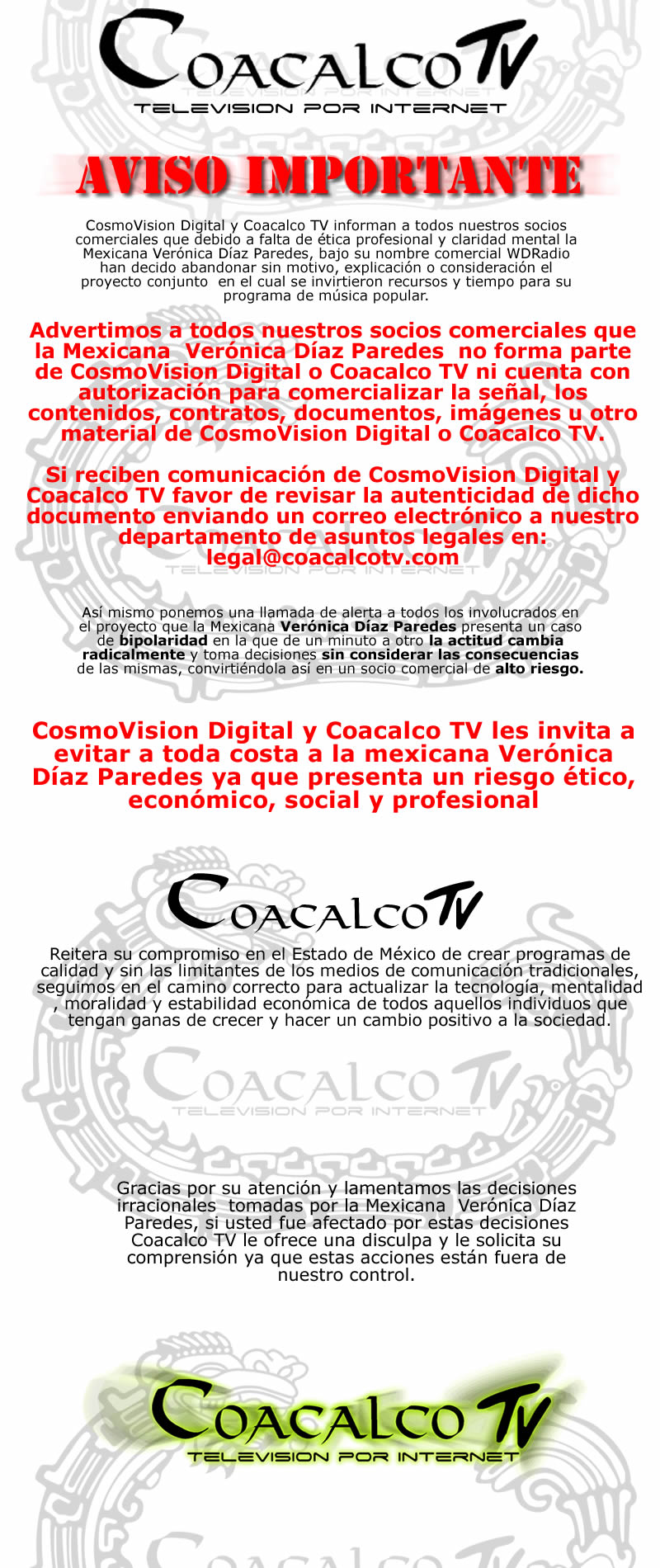 Aviso Importante   WDRadioTvOnlineMéxico